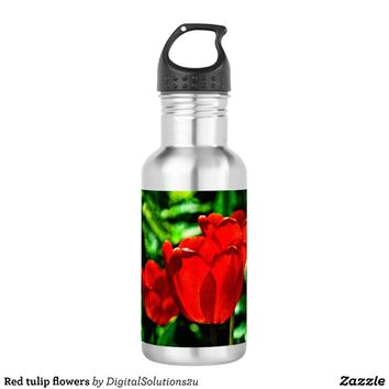 Red tulip flowers water bottle