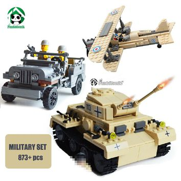 Military Set 873pcs Building Blocks Tank Panzer Army Jeep F-1 Camel Fighter Kazi Bricks are compatible with lego Bricks Parts