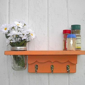 Wall shelf hooks vase jar shabby chic by Twigs2Whirligigs on Etsy