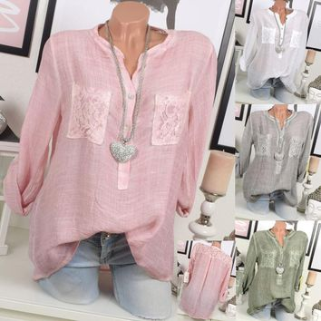 Women Fashion Lace Patchwork Roll Up Long Sleeve Button Up Chiffon Blouse Shirt  Tops with Chest Pocket