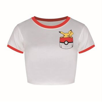 Fashion Women's T shirt Pokemon Go Funny Print Crop Top Short Sleeve O-neck camisetas Mujer Cropped TopsSummer Style Dropship