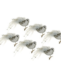 Set of 6 Glitter and Sequin Bird Christmas Ornaments with Clip