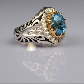 Sterling Silver Blue Topaz Men Ring Persian Antique Design Genuine Gemstone Size 11.5 US (Re-sizing is available for free)