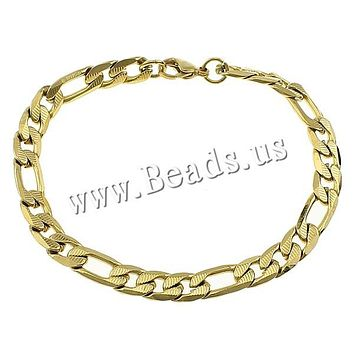 Men Women Link Cuban Chain Bracelets Silver Gold Figaro Chain Stainless Steel Bangle Friendship Wristbands