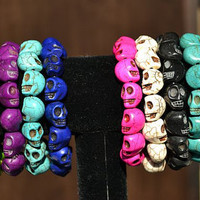 Combo Pack (3 Bracelets) Day of the Dead Skull Bracelets (Dia De Los Muertos - All Saints Day) - Crafted in the USA