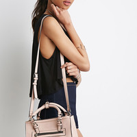 Zipped Faux Leather Satchel
