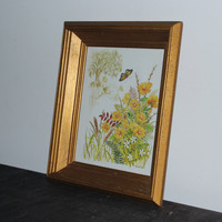 Gold wood framed Gloria Eriksen flower butterfly print, wall decor, floral decor