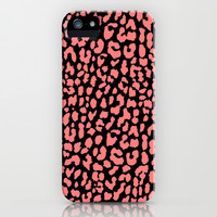 Coral Black Leopard iPhone & iPod Case by M Studio