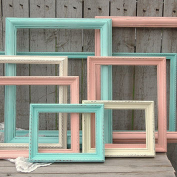 Frames, Shabby Chic, Mint Green, Coral, Ivory, Wedding, Photo Frames, Set, Painted Wood, Open Frames