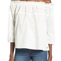 Roxy Beach Fossil Off the Shoulder Eyelet Top   Nordstrom
