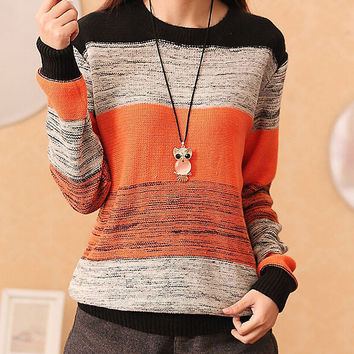 Loose Round neck striped sweater
