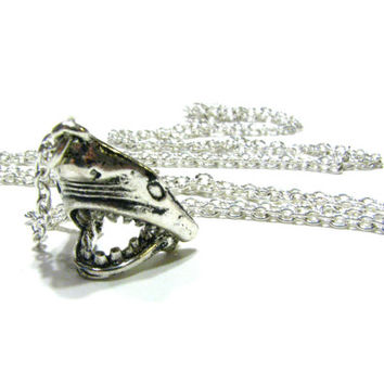 Jaws Shark Necklace - Long Silver Charm Necklace w/ Super Rad Hinged Chomping Jaw - Men's Or Women's Unisex Fashion