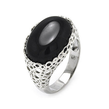Brass Rhodium Plated Black Onyx Oval Center Stone Ring: Size:5