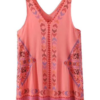 Pink V-neck Embroidery Tassel Shift Dress