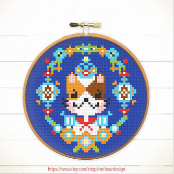 Kawaii Cross stitch pattern PDF - King Kitty Floral Portrait - Instant download - Happy Cat Woodland Animal, Modern Funny cross stitch