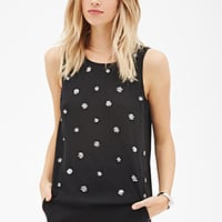 LOVE 21 Embellished Tank Top Black/Silver