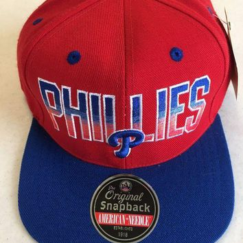 DCCKIHN AMERICAN NEEDLE PHILADELPHIA PHILLIES RETRO FADED RED AND BLUE SNAPBACK HAT