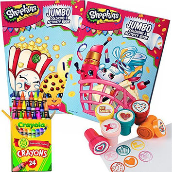 Shopkins Coloring & Stamper Activity Book Set - Include 2 Coloring Books, 24 Crayola Crayons and 6 Fun Heart Stampers