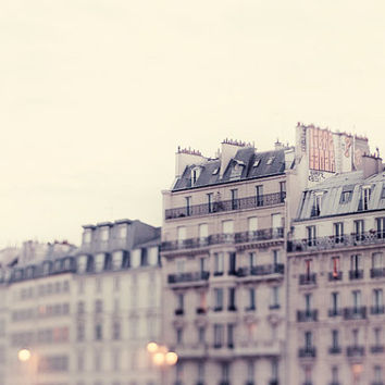 Seine Apartments at Night, Paris Photography, Architecture, Pale Neutral French Home Decor, Pastel Beige White - I'll Meet You in Paris