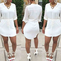 White V Neck Drawstring  Asymmetrical  Dress