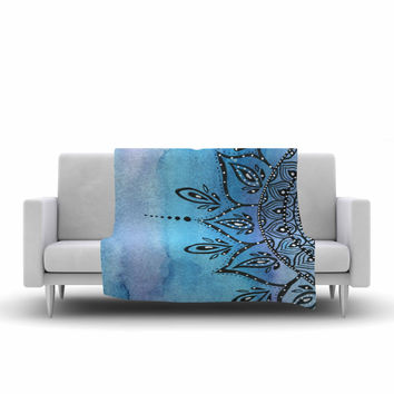 "Li Zamperini ""Blue Mandala"" Aqua Black Fleece Throw Blanket"