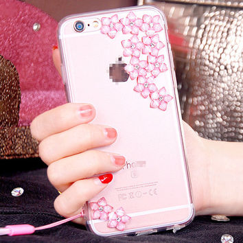 Cute Flower Phone Case For iPhone 7 7s for iphone 7 7s plus for iphone6 6s plus Handmade diy Soft Phone Case