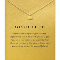 Moon Dogeared Good Luck Alloy Elephant Gold Plated Shorts Chains Clavicle Necklaces & Pendants New Fashion Jewelry For Women C34