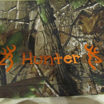 New Custom Handmade standard size pillow case realtree camo camouflage browning inspired deer you choose color and name