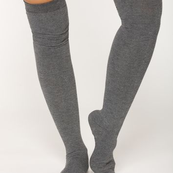 Warm Me Up Thigh High Socks - Grey