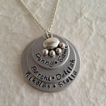 Hand Stamped Personalized Pet Lovers Necklace / Stacked Pet Lovers Pendant / Hand Stamped Personalized Pet Jewelry / Pet Owner Necklace
