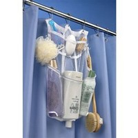 Hanging Shower Organizer shower caddy that stays up in the dorm shower for holding shower supplies and uses curtain hooks