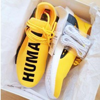 Adidas NMD Human Race Fashionable Women Men Comfortable Running Sports Shoes Sneakers Yellow I/A