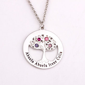 Circle Tree Necklace with Birthstones Personalized Birthstones Family Necklaces Custom Made Any Name