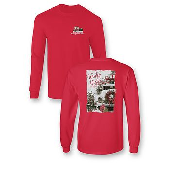 Sassy Frass Winter Wishes Christmas Holiday Truck Long Sleeve Bright Girlie T Shirt