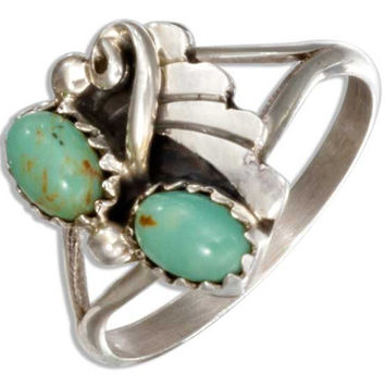 Southwest Double Oval Green Simulated Turquoise Cabochon Ring