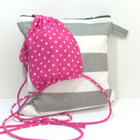 Gray Striped Bathing Suit Wet Bag