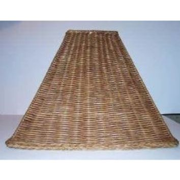 "40053 Square Wicker Table Lamp Shades - 5"" Top X 15"" Bottom X 10 1/2"" Height. Washer Finial Top"