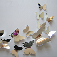 Vinyl 3D Removable Decorative silver Butterflies Wall Sticker