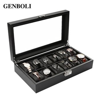 GENBOLI 12 Girds Carbon Fiber Watch Box Jewelry Organizer Display 35* 20* 8cm Large Glass Storage Holder Show Case