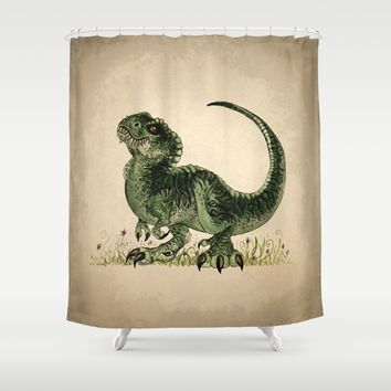 Baby T-Rex Shower Curtain by River Dragon Art | Society6