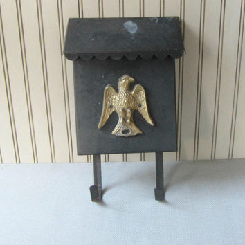 Vintage Metal Mailbox with Eagle Black Mailbox with Hooks
