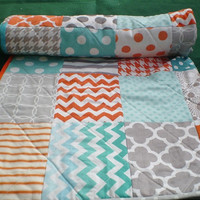 Modern Baby quilt-baby girl quilt, baby boy bedding,patchwork crib quilt,teal,orange,grey,aqua,turquoise,chevrons,dots,Fire,Sea and Mist