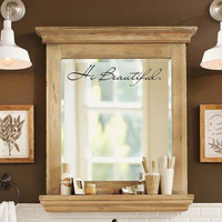 Hi Beautiful Ispirational Vinyl Mirror Decal Sticker Art