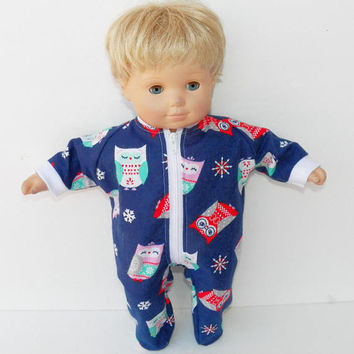 bitty baby clothes, girl or 15 inch twin doll, navy blue owl and snowflake, flannel, pajamas pjs sleeper, handmade by adorabledolldesigns