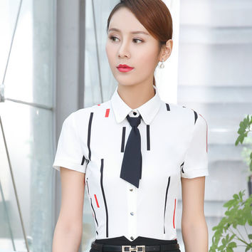 2017 summer elegant bow tie stripe shirt women OL new formal short sleeve chiffon blouse office ladies plus size work slim tops