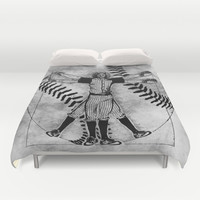 Vitruvian baseball player (b&w) Duvet Cover by Kamonkey