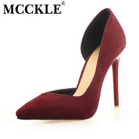 MCCKLE Women's Fuax Suede Shoes Ladies Sexy Pointed Toe Thin High Heel Pump Women Casual Wedding Party Shoes 7Color