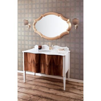 "GM Luxury Nouveau 48.4"" Bath Vanity Cabinet Set Single Sink, Briar Wood and White"