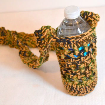 Camo and Tan Bottle Holder, Water Bottle Cozy, Crochet Cozy, Water Bottle Sling, Hiking Accessories
