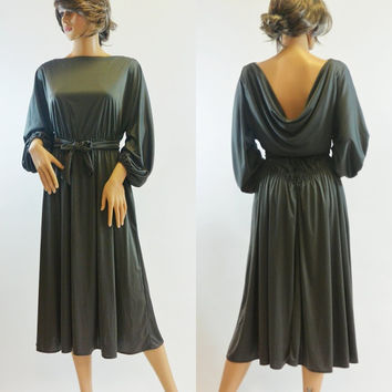 Vintage 1970s Army Green Draped Back Dress, Tied Capelet, Bishop Sleeves